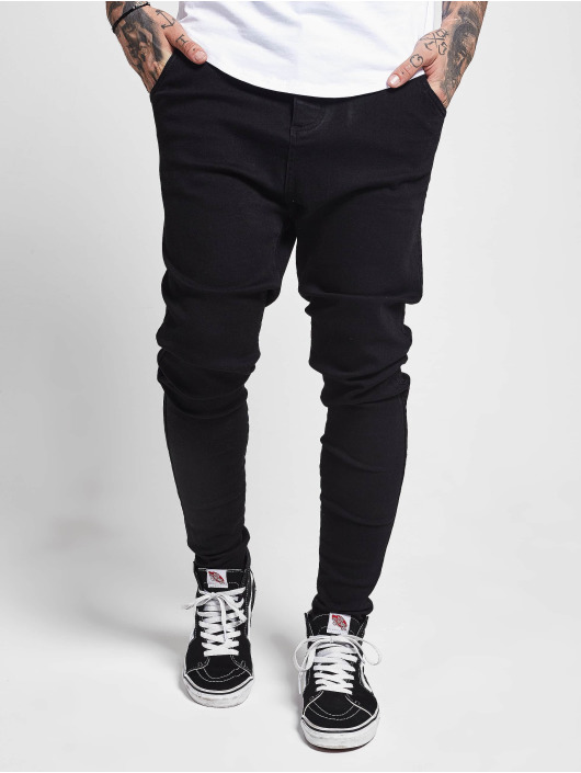 Sik Silk Slim Fit Jeans Drop Crotch schwarz