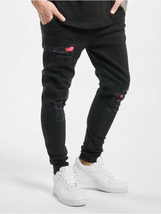 Sik Silk Slim Fit Jeans Oil Patch schwarz