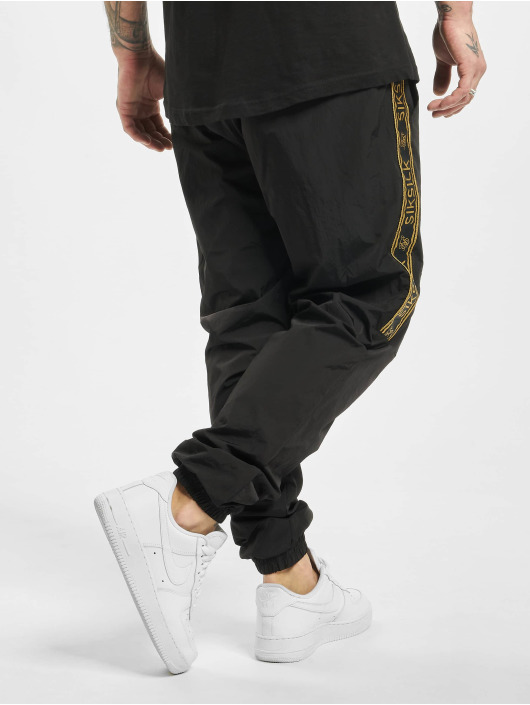 Sik Silk Spodnie do joggingu Crushed Nylon Taped czarny