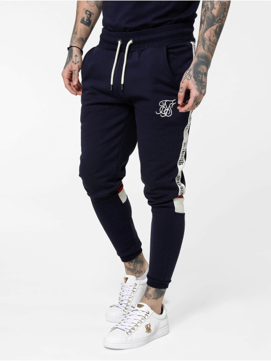 Sik Silk Spodnie do joggingu Retro Panel Tape niebieski