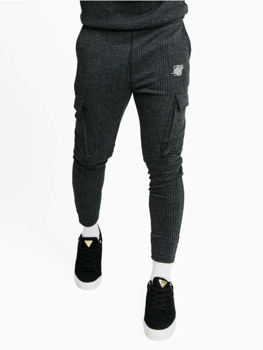 Sik Silk Sweat Pant Tonal Check Cargo grey