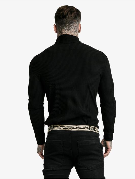Sik Silk Swetry Brushed Rib Knit Turtle Neck czarny