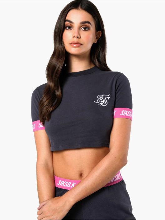 Sik Silk T-paidat Elastic Collar Retro Box harmaa