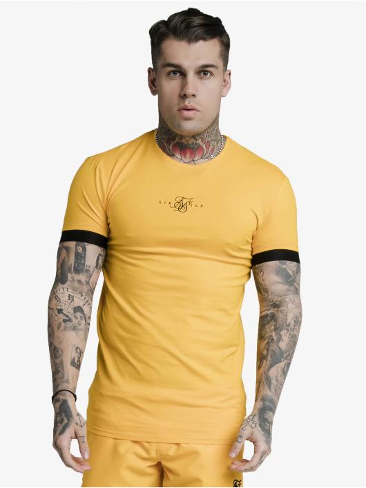 Sik Silk T-paidat Inset Elastic Cuff Gym keltainen