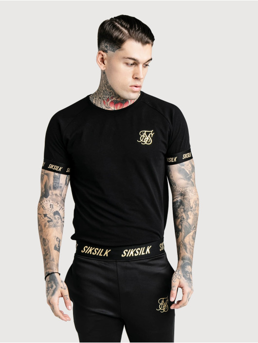 Sik Silk T-paidat Golden Reflect Raglan Tech musta