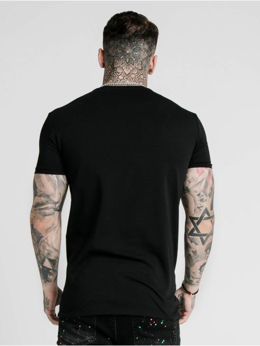 Sik Silk T-paidat Straight Hem Gym musta