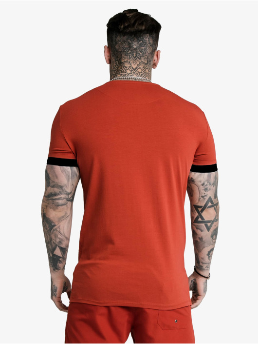 Sik Silk T-paidat Inset Elastic Cuff Gym punainen