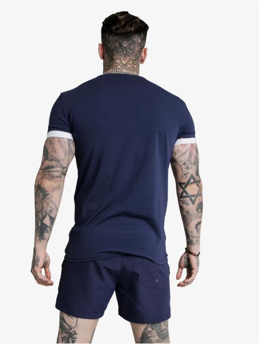 Sik Silk T-paidat Inset Elastic Cuff Gym sininen