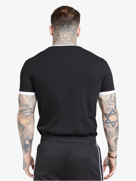 Sik Silk T-Shirt Inset Straight Hem Ringer Gym black