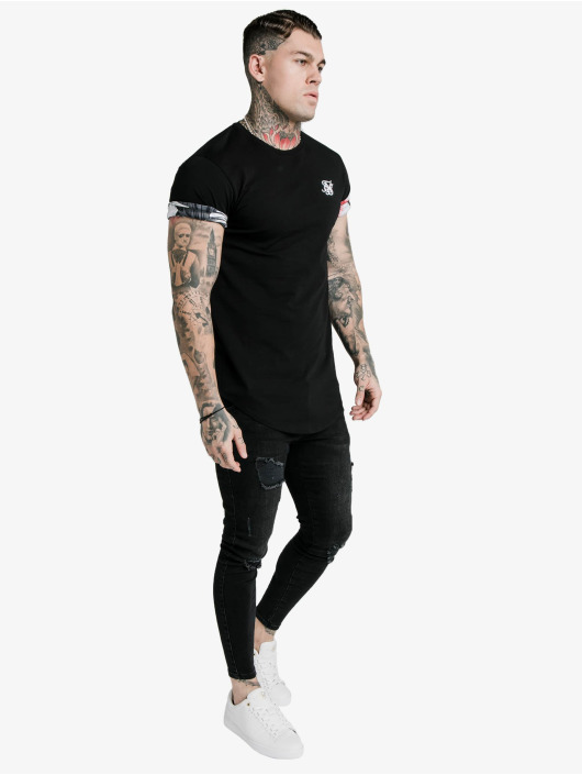 Sik Silk T-Shirt Floral Roll Sleeve black