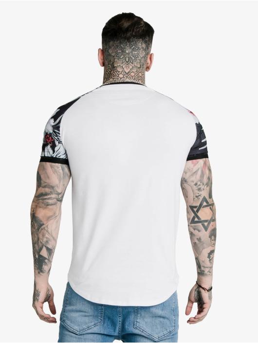 Sik Silk T-Shirt Floral Raglan Tech blanc