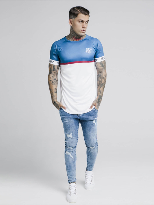 Sik Silk T-Shirt Raglan Stripe Tech blau