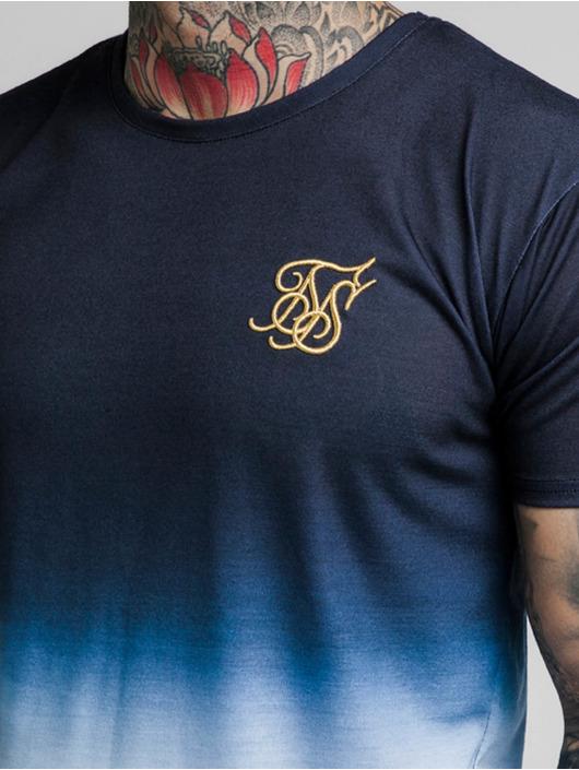Sik Silk T-Shirt Curved Hem Tri Fade blau