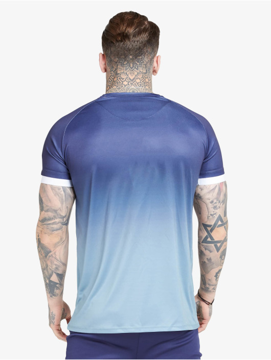Sik Silk T-Shirt Raglan Fade Straight Hem blau