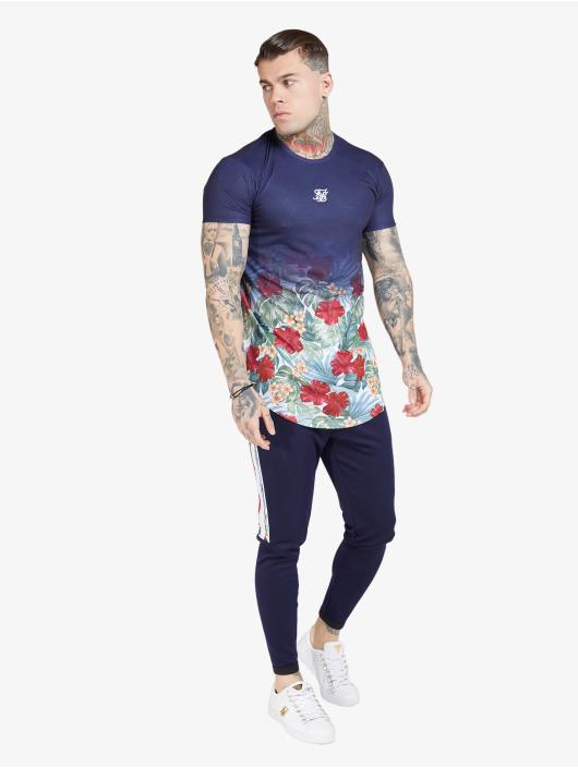 Sik Silk T-Shirt Curved Hem Fade blau