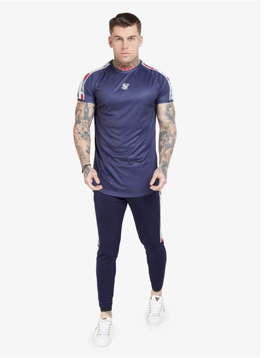 Sik Silk T-Shirt S/S Curved Hem Raglan blau