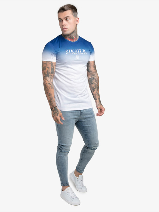Sik Silk T-Shirt High Fade Embroidery Gym blau