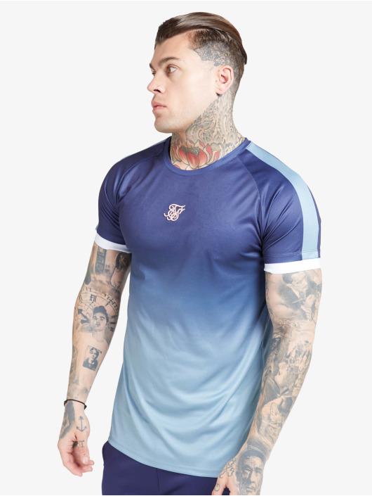 Sik Silk t-shirt Raglan Fade Straight Hem blauw