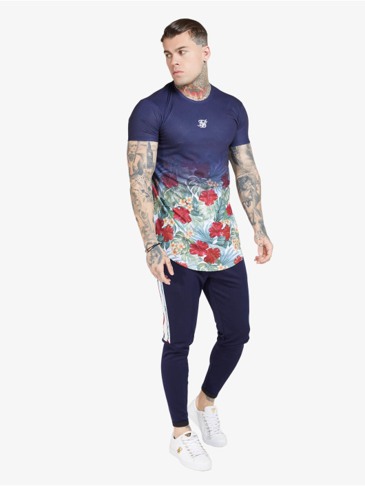 Sik Silk t-shirt Curved Hem Fade blauw