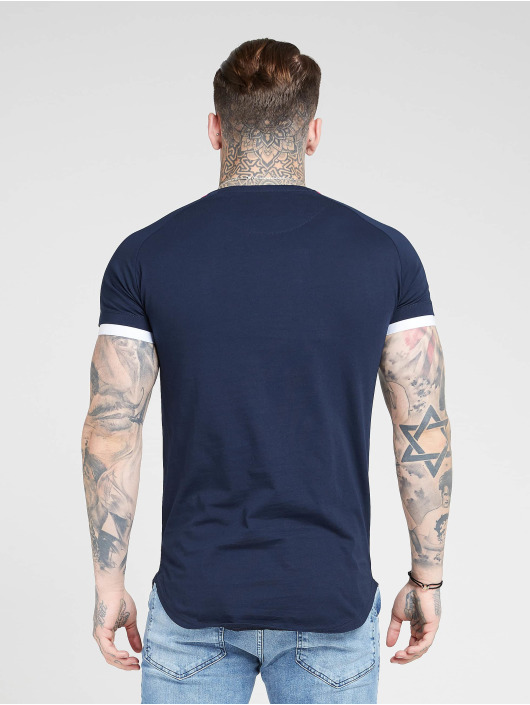 Sik Silk T-Shirt Inset Cuff Fade Panel Tech blue