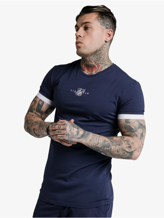 Sik Silk T-Shirt Inset Elastic Cuff Gym blue