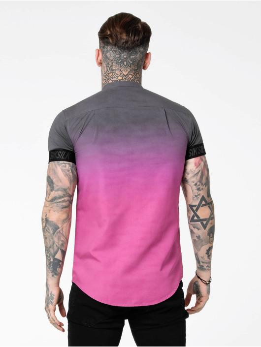 Sik Silk T-Shirt S/S Fade Out Grandad Collar Tech grau