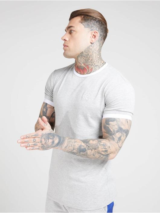 Sik Silk T-Shirt Inset Straight Hem Ringer Gym gray
