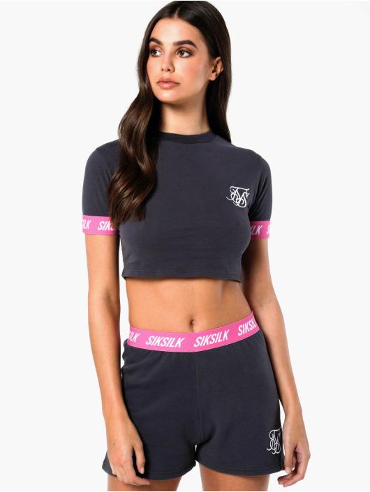 Sik Silk T-Shirt Elastic Collar Retro Box grey