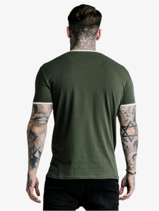 Sik Silk T-Shirt Straight Hem Ringer kaki