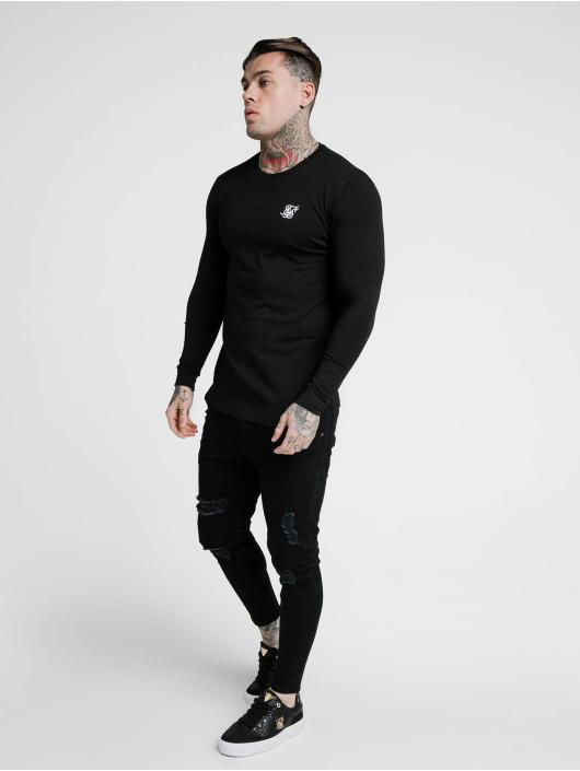 Sik Silk T-Shirt manches longues Hem Gym noir