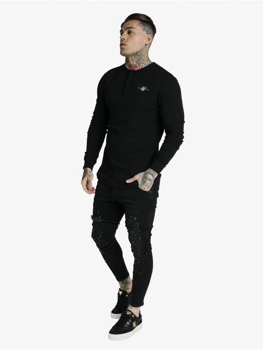 Sik Silk T-Shirt manches longues Button Down noir