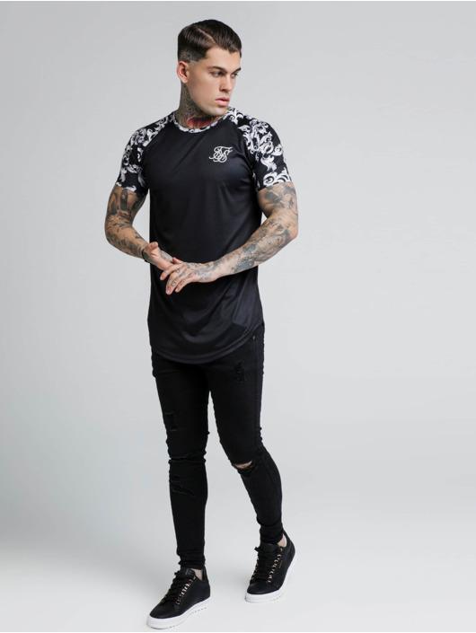 Sik Silk T-Shirt Silvern Venetian Raglan noir