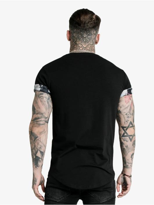 Sik Silk T-Shirt Floral Roll Sleeve noir