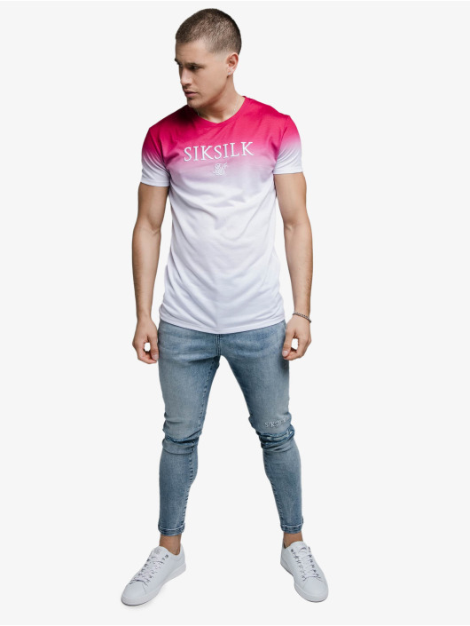 Sik Silk T-shirt High Fade Embroidery Gym rosa