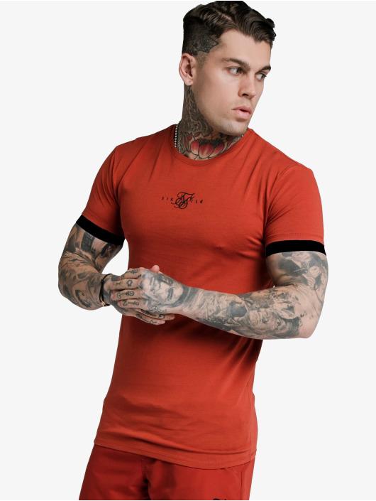 Sik Silk T-shirt Inset Elastic Cuff Gym rosso