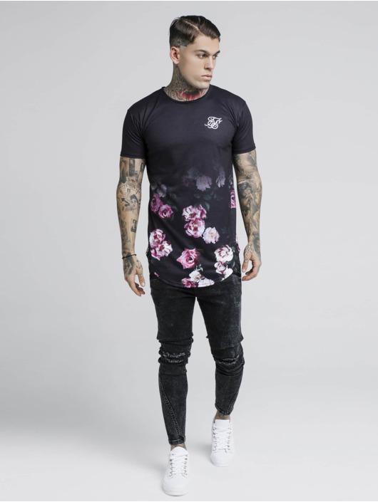 Sik Silk T-Shirt Oil Fade Curved Hem schwarz
