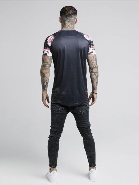 Sik Silk T-Shirt Oil Paint Curved Hem Raglan schwarz