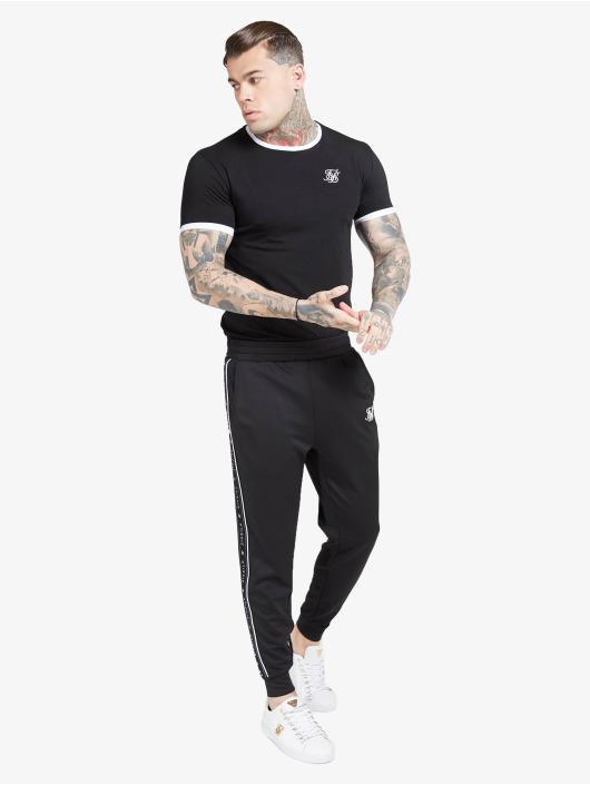 Sik Silk T-Shirt Inset Straight Hem Ringer Gym schwarz