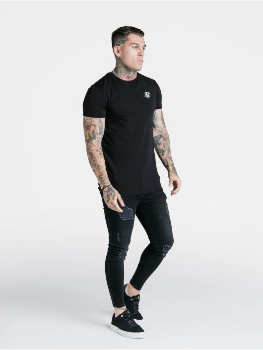 Sik Silk T-Shirt Hem Gym schwarz
