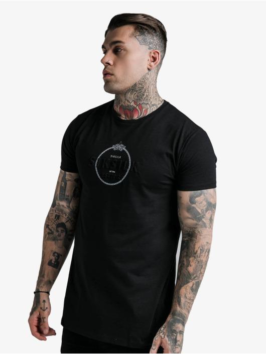 Sik Silk T-shirt Straight Hem Chain Print Box svart
