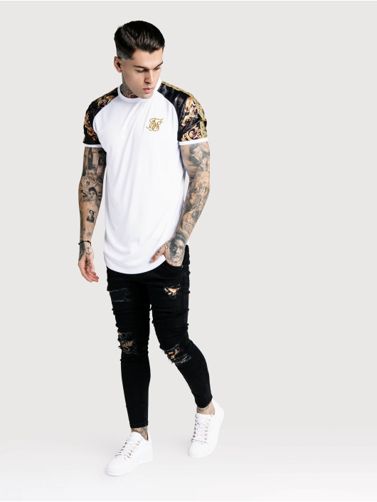Sik Silk T-Shirt Curved Hem Gym weiß