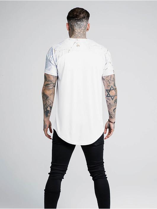 Sik Silk T-Shirt Marbleise Raglan Curved Hem weiß