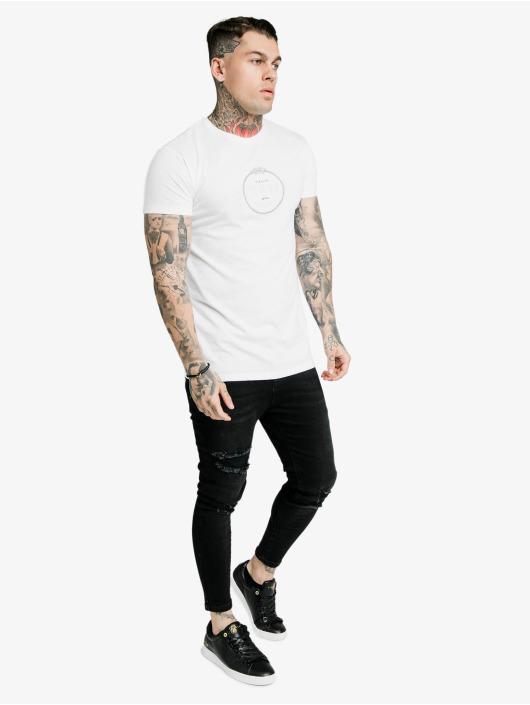 Sik Silk T-Shirt Straight Hem Chain Print Box weiß