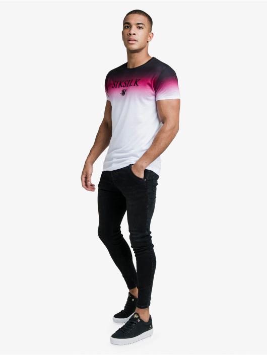 Sik Silk T-Shirt High Fade Embroidery Gym weiß