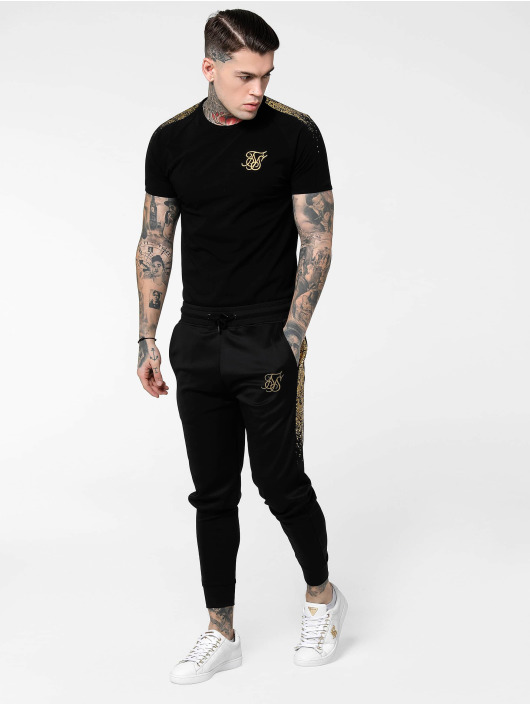 Sik Silk t-shirt Raglan Foil Fade Gym zwart
