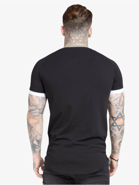 Sik Silk t-shirt Inset Cuff Fade Panel Tech zwart