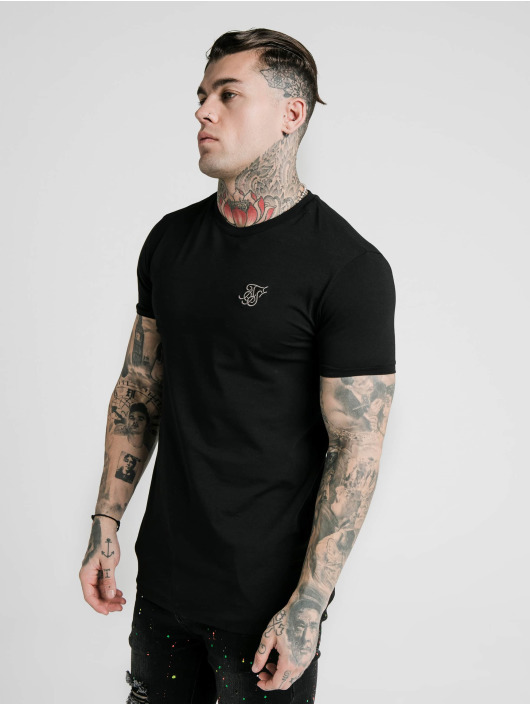 Sik Silk t-shirt Straight Hem Gym zwart