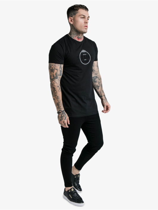 Sik Silk t-shirt Straight Hem Chain Print Box zwart