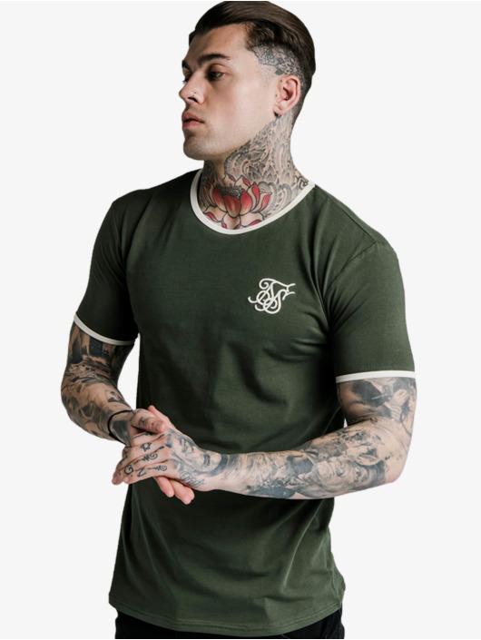 Sik Silk T-shirts Straight Hem Ringer khaki