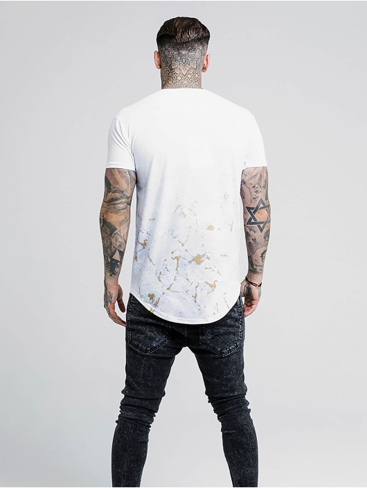 Sik Silk T-Shirty Marbleise Curved Hem Fade bialy